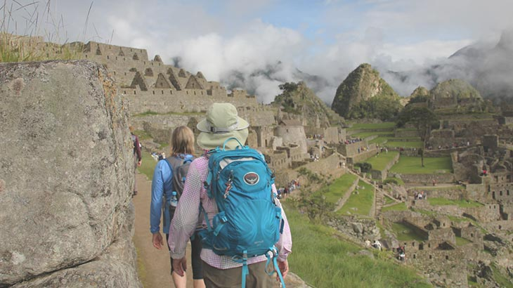 arriving from inca trail to machu picchu