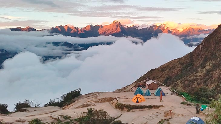 beautiful sunrise on inca trail