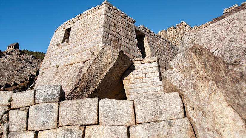 visiting machu picchu temple of the sun