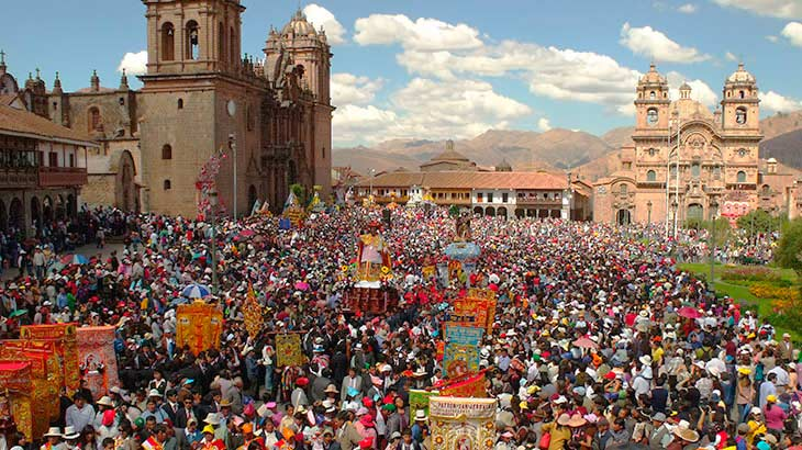 Festivity of the corpus christi in the main square of Cusco