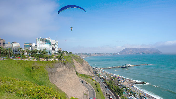 Incredible view of the green coast of the city of lima