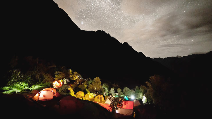 Night camp on the inca trail