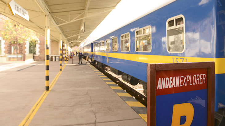 andean explorer train in station