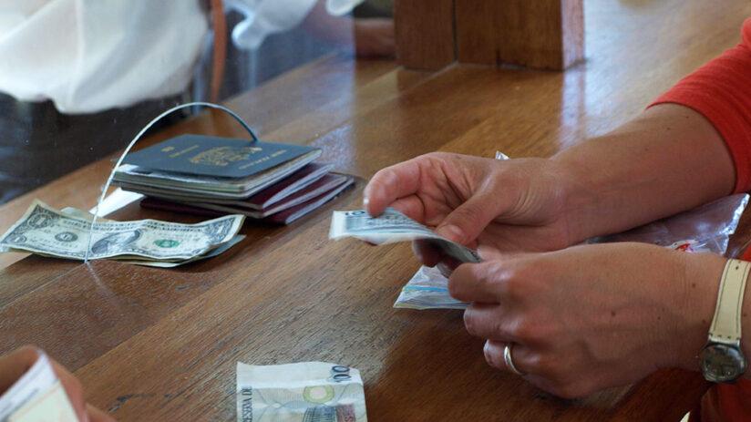 buying the train tickets to machu picchu