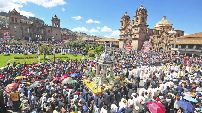 corpus christi in main square of cusco, best time to visit peru