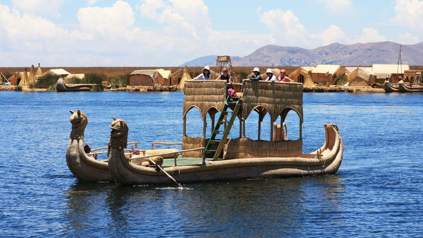 typical boat in uros , traveling to peru in march