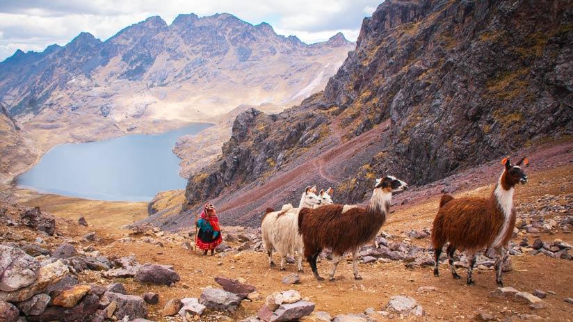 beautiful landscape in the andes like machu picchu in peru