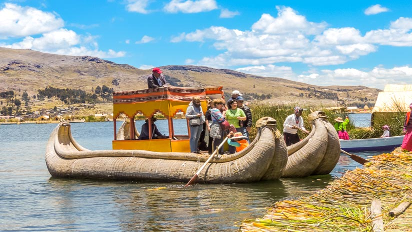 uros people in the lake titicaca floating islands