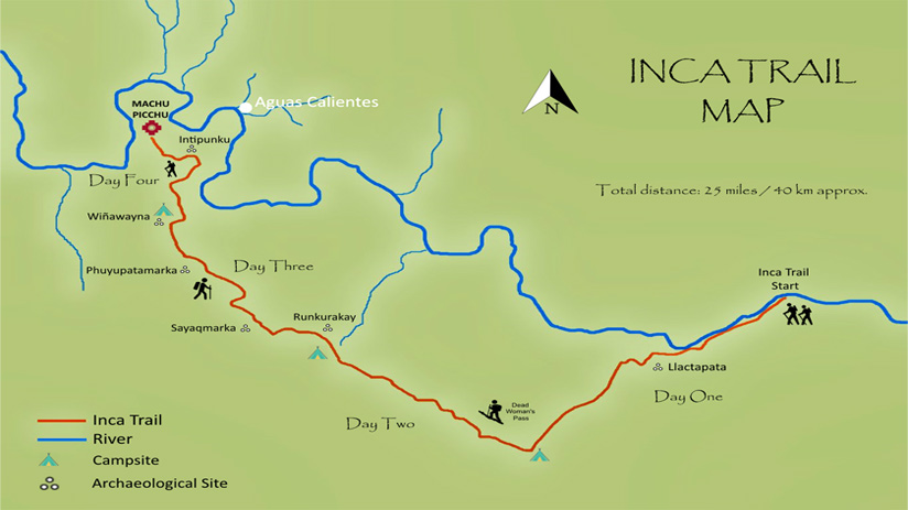 peru machu picchu hike inca trail map