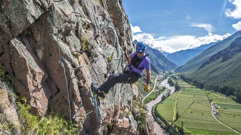 sacred valley peru skylodge via ferrata climbing