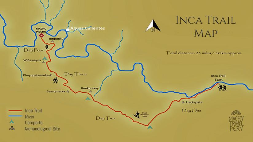 walking the inca trail map