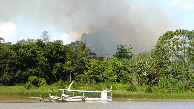 tambopata national reserve amazonia burning