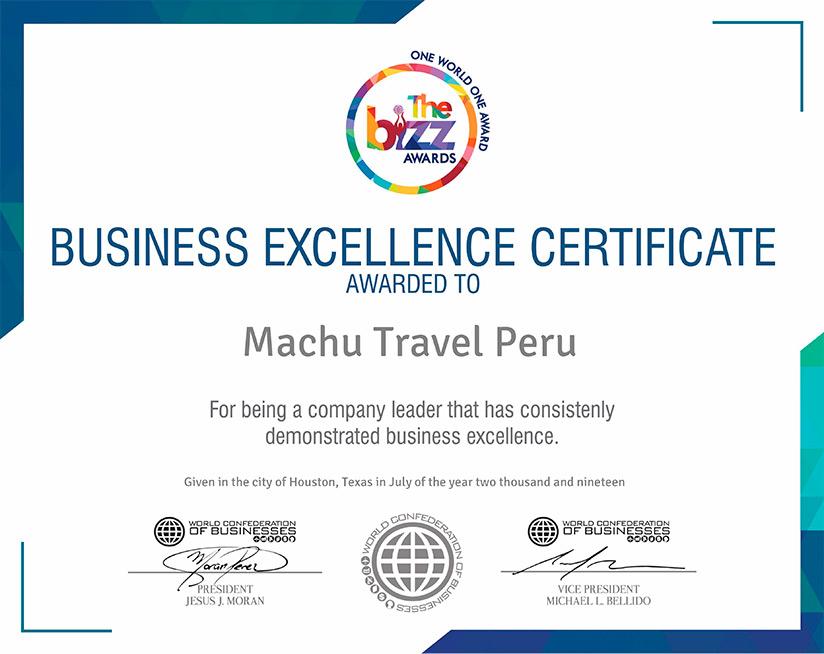 the bizz awards machu travel peru
