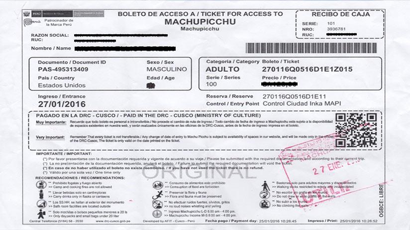machu picchu tickets example