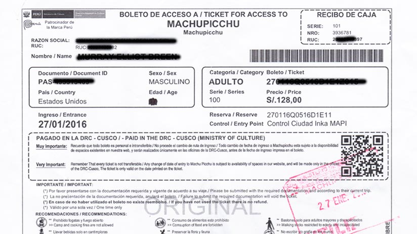 Machu Picchu reservations ticket