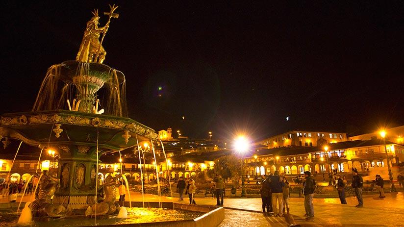 cusco main square nightlife