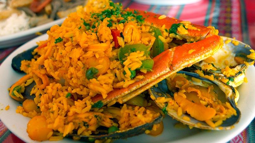 arroz con mariscos in peruvian seafood