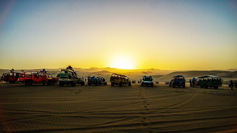 sunset in huacachina
