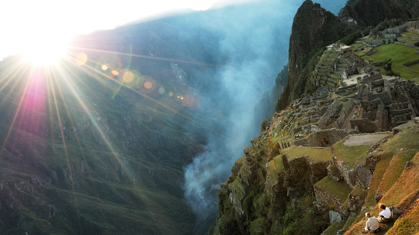 sunset in machu picchu