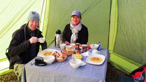 Delicious breakfast at Inca Trail camping